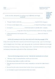 English Worksheets: transitional words test