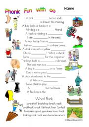 English Worksheets: 3 pages of Phonic Fun with oo: worksheet, story and key (#8)