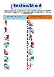 English Worksheet: Winter Sports - Rock, paper, scissors game