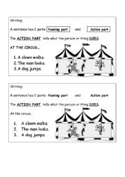 English Worksheets: Action part of a sentence
