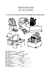 English Worksheet: Prepositions in on under
