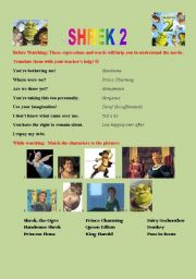English Worksheet: SHREK 2 full movie worksheet: grammar, vocab and communication!