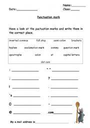 punctuation practice worksheets pdf punctuation marks enchantedlearning esl printable. Black Bedroom Furniture Sets. Home Design Ideas
