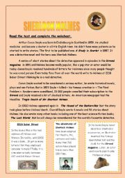English Worksheet: SHERLOCK HOLMES, presentation, reading comprehension, crosswords