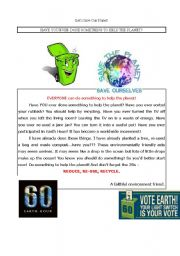 English Worksheet: Have you ever done something to help the planet?