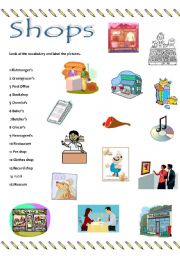 two page worksheet with vocabulary related to shops. It explains how ...