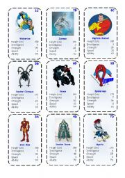 English Worksheets: Top Trump Cards - Marvel Heroes 1-3