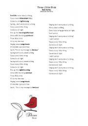 English Worksheets: Three little birds - Bob Marley song
