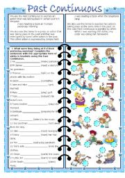 English Worksheets: PAST CONTINUOUS (editable with key)