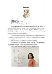 English Worksheets: PYTHGORAS:A GREAT MATHEMATICIAN