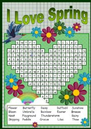 English Worksheets: I LOVE SPRING PUZZLE