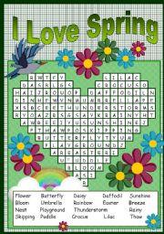 English Worksheet: I LOVE SPRING PUZZLE