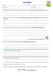 English Worksheet: BOOK REPORT WORKSHEET