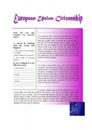 English Worksheet: European Citizenship