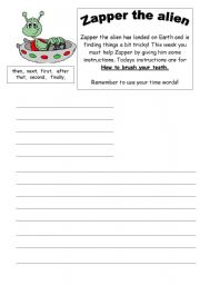 English Worksheets: Instructions text (how to brush our teeth)