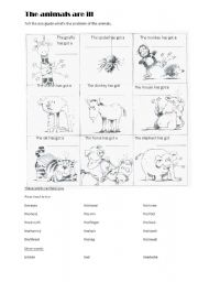 English Worksheet: The animals are ill