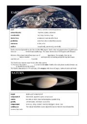English Worksheet: Planets reading and vocabulary 2