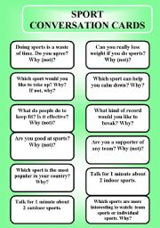 English Worksheet: Sport - conversation cards (editable)