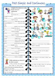 English Worksheet: past simple and continuous ( editable, with key)