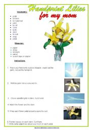 English Worksheets: Handprint Lilies for my mother (CRAFT)