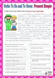 English Worksheet: Verbs to be and to have - Simple Present - Affirmative, negative and Interrogative forms (3)