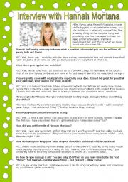 English Worksheets: interview with Hannah Montana (with key)