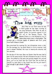 English Worksheets: Reading comprehension about sporty activity