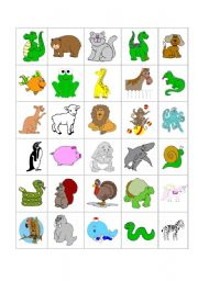 English Worksheet: Bingo - Animals