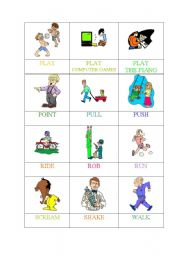 English Worksheets: ACTIONS (4 OF 6) -MEMORY GAME/PELMANISM
