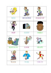 English Worksheets: ACTIONS (5 OF 6) -MEMORY GAME/PELMANISM