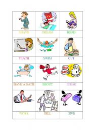 English Worksheets: ACTIONS (6 OF 6) -MEMORY GAME/PELMANISM