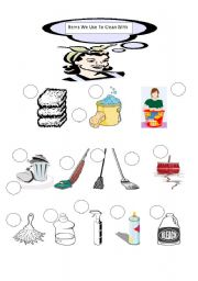 english worksheets things we use to clean with