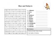English Worksheets: Days and Subjects worksheet