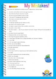 English Worksheets: My mistakes