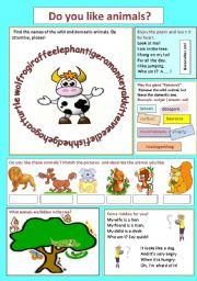 English Worksheet: Do you like animals?