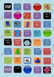 English Worksheet: CLOTHES AND COLORS BOARD GAME