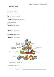 English Worksheets: Like, love, hate (food)