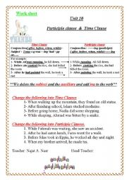 Grammar-time clause and participle clause