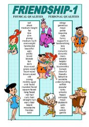 English Worksheet: FRIENDSHIP - PHYSICAL AND PERSONAL QUALITIES POSTER - 1