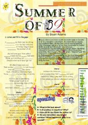 English Worksheet: Summer of 69 Song & exercises Past Simple & Speaking