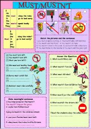 English Worksheet: must /mustn´t