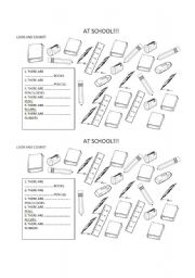 English Worksheets: SCHOOL OBJECTS AND NUMBERS 1-10
