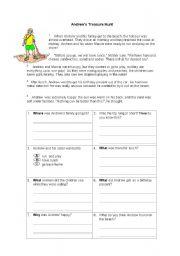 English worksheet: ANDREW´S TREASURE HUNT