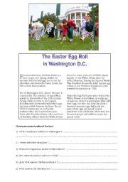 English Worksheet: EASTER EGG ROLL in WASHINGTON DC