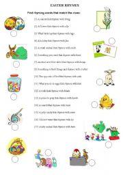 English Worksheet: EASTER rhymes