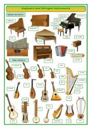 English Worksheets: keyboard and stringed musical instruments -pictionary