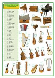 English Worksheets: Keyboard and stringed musical instruments