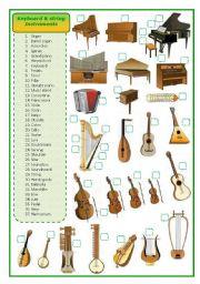 English Worksheet: Keyboard and stringed musical instruments