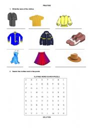 English worksheet: Clothes word search puzzle