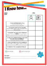 English Worksheet: Self-evaluation for students